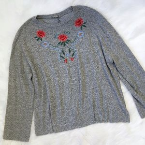 Zara Grey Floral Embroidered Sweater